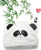 Badcape panda met capuchon + wasdoekje - 90x90cm - voor baby en kinderen - Kinderhanddoek - Babycape - badcape poncho - Organisch en extra zacht - handdoek kraamcadeau - kind en peuter kado - babyhanddoek van 100% bamboe