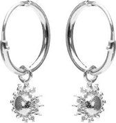 Karma 925 Sterling Zilveren Hoops Symbols Sun Oorknoppen  - Zilver