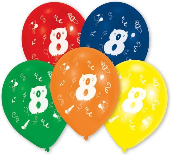 Amscan Ballonnen 8 Jaar 10 Stuks 25 Cm