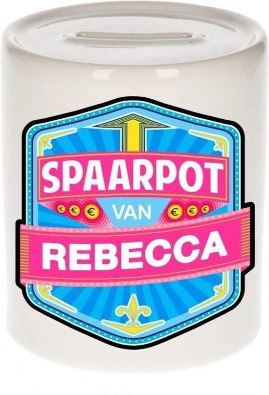 Kinder spaarpot voor Rebecca   - keramiek - naam spaarpotten