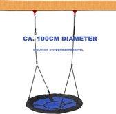 Nestschommel buitenspeelgoed 100cm diameter - inclusief schoonmaakborstel - Slinger schommel- Nest Schommel - Blauw