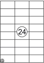 Benza Zelfklevende Etiketten op A4 Vel - 70 x 37 mm - 24 stickers per vel - 100 vel