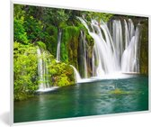 Foto in lijst - Verschillende watervallen bij het Nationaal park Erawan in Thailand fotolijst wit 60x40 cm - Poster in lijst (Wanddecoratie woonkamer / slaapkamer)