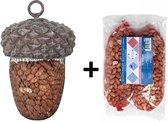 Eikel voederhanger voor vogels inclusief 2x180gram pinda noten