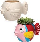 Keramische bloempotten in de vorm van een vis voor kinderen om te verven en versieren - Knutselset van porselein voor kinderen (doos van 2)