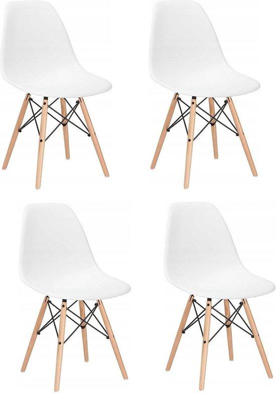 Bol Com Milano Design Stoel Wit 4 Delige Set Keuken Huiskamer
