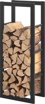 Stalen brandhoutrek houtopslag zwart voor ca. 0,1 m³ hout