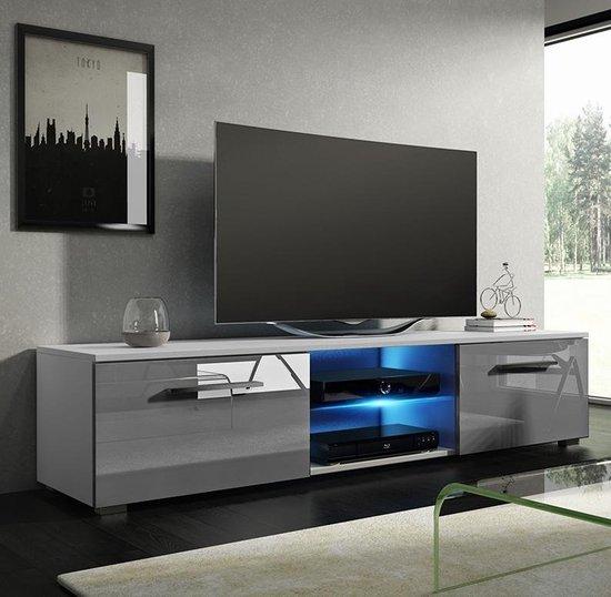 TV meubel TV kast Tenus incl LED body wit front kleppen hoogglans grijs - VDD