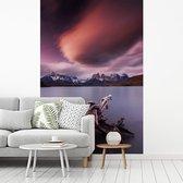 Boomstronk in het kalme Pehoe meer onder een kleurrijke hemel fotobehang vinyl breedte 180 cm x hoogte 270 cm - Foto print op behang (in 7 formaten beschikbaar)