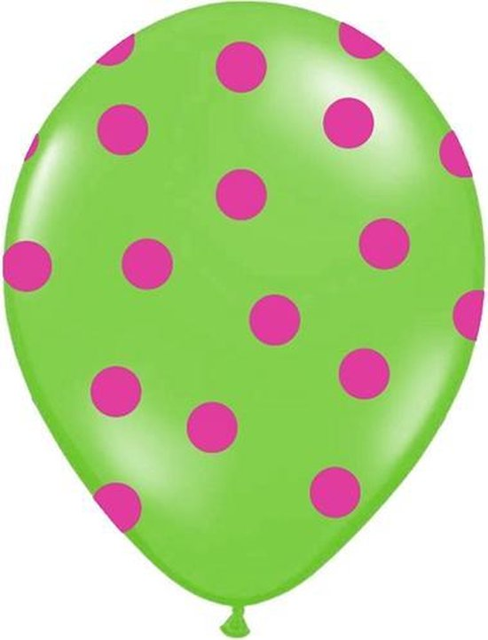 Ballonnen lime dots fuchsia 10 stuks