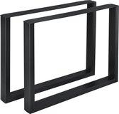Stalen onderstel set van 2 U tafelpoot 90x72 cm zwart