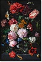 Graphic Message Schilderij op Canvas - Stilleven met Bloemen in Glazen Vaas - Jan Davidsz de Heem