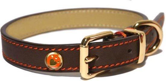Rosewood Luxury Leren Halsband - Hond - Bruin - 1,3 x 25 x 36 cm