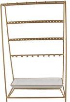 Sieradenhouder - Display voor Sieraden - Oorbellen en Armbanden - Metaal - 39x25x15 cm - Goudkleurig - Dielay