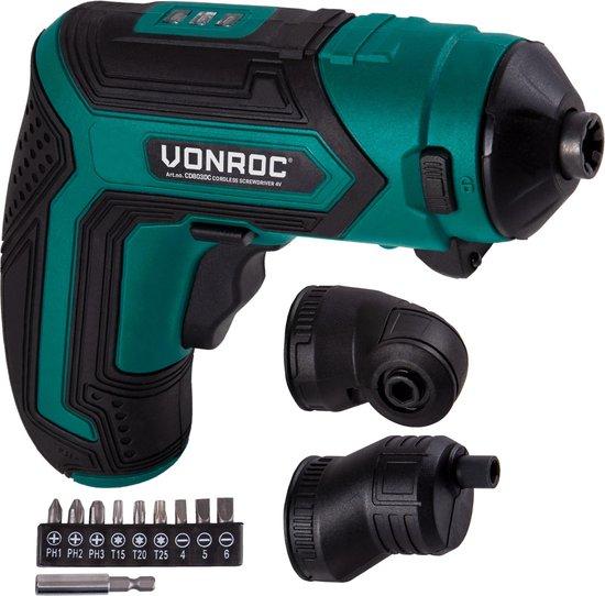 VONROC Accu Schroefmachine – 4V – Incl. bithouder, excentrisch en haaks opzetstuk, bitset & lader
