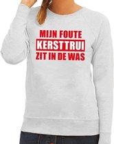 Foute kersttrui / sweater - grijs - Mijn Foute Kersttrui Zit In De Was voor dames M (38)