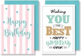 10x dubbele wenskaart met envelop - Verjaardag - Happy Birthday - 11,5 x 17 cm