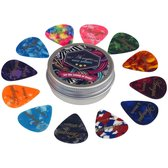 12 Plectrums in blikken doosje - Celluloid plectrum set - thin 0.46, medium 0.71 en thick 0.96 mm