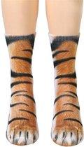 Dieren poten sokken - Sokken met dierenpoten motief - One size fits all - Tijger