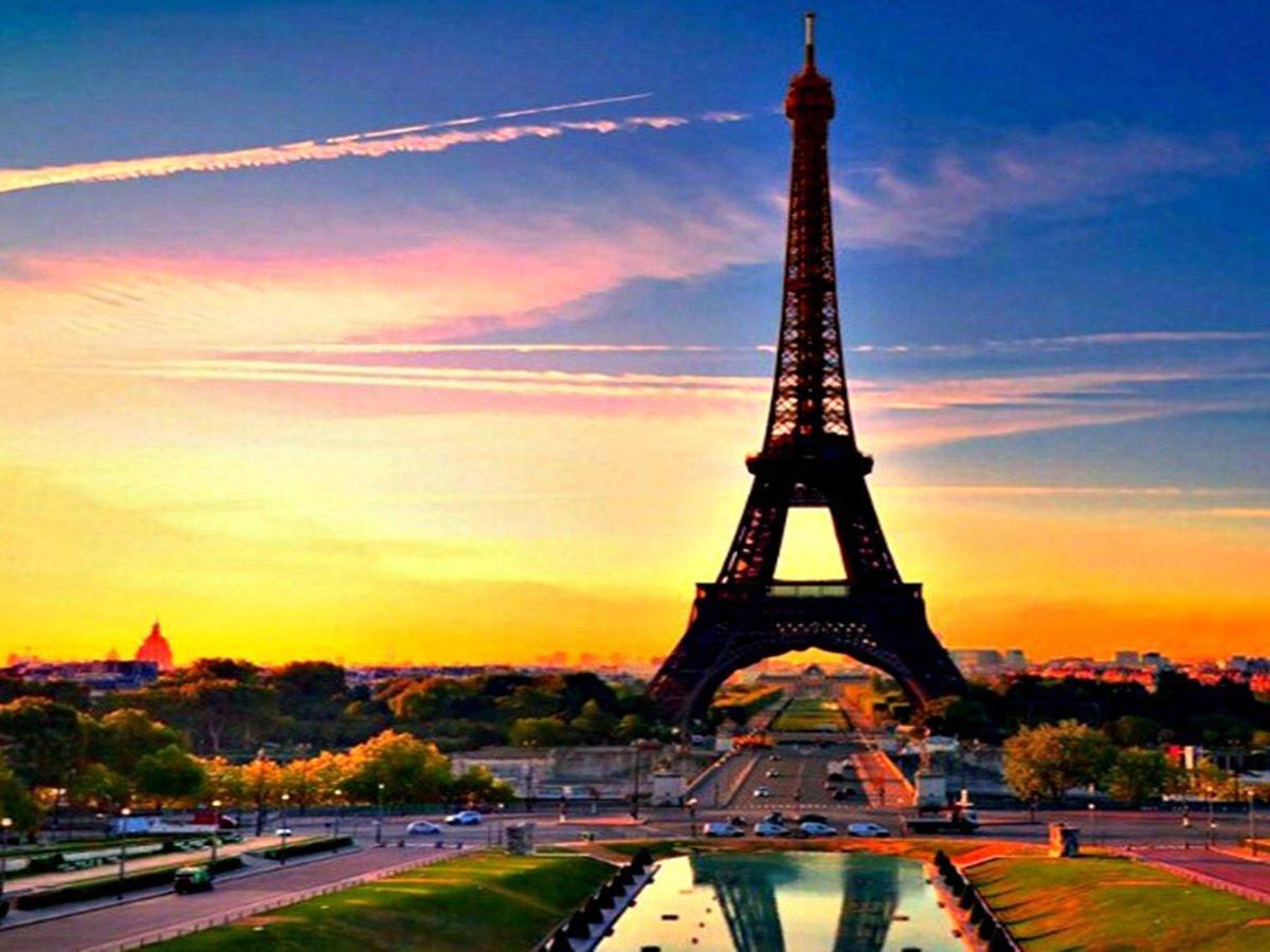 Diamond Painting Pakket Parijs in de nacht met zonsondergang - Volledig - FULL - Diamond Paintings - 30x40 cm - SEOS Shop ®