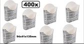 400x Frietbakje karton krijtbord 94x41x135mm - Patat friet frites bakje snack bak