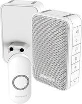 Honeywell draadloze draagbare en plug-in deurbel met volumeregeling en drukknop - Wit