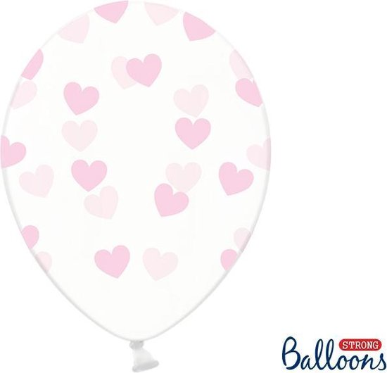 6 Ballonnen in zak hartjes crystal - Roze 30cm