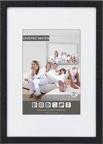 Vlakke Houten Wissellijst - Fotolijst - 42x59,4 cm - Helder Glas - Zwart - 15 mm