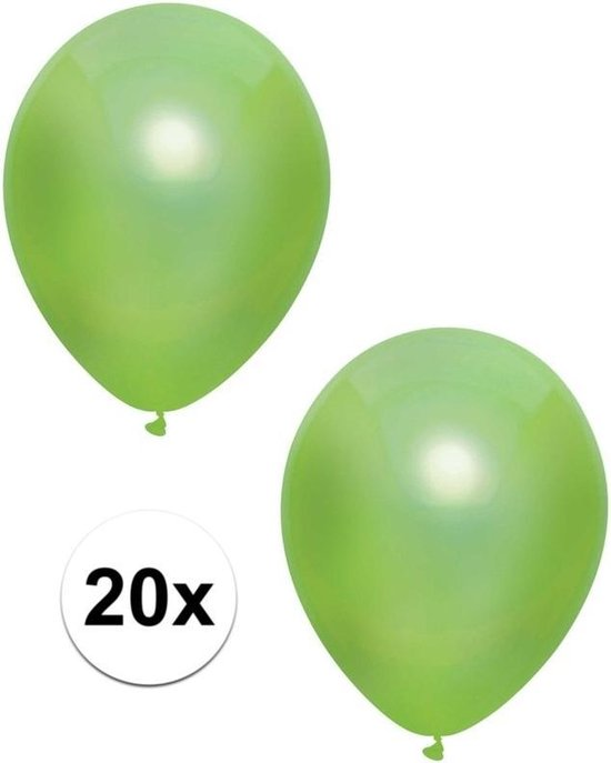 20x Lichtgroene metallic ballonnen 30 cm - Feestversiering/decoratie ballonnen lichtgroen