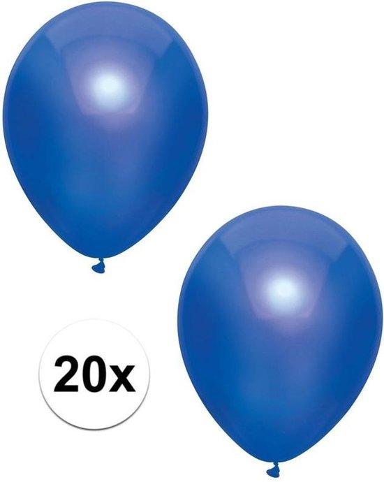 20x Donkerblauwe metallic ballonnen 30 cm - Feestversiering/decoratie ballonnen donker blauw