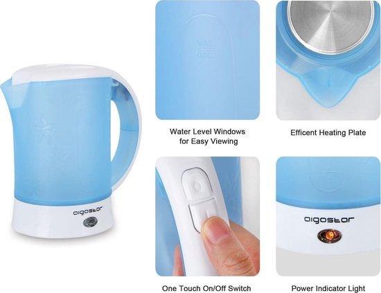 Aigostar Walking Drip 30JQK – Reis Waterkoker, Travel, BPA vrij - Blauw/Wit