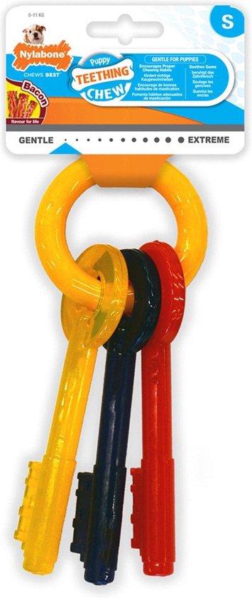 Nylabone Puppy Teething Key Flexible Geel&Blauw&Rood - Hondenspeelgoed - Small Tot 11kg