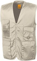 Outdoor/werk bodywarmer beige voor heren - Outdoorkleding/werkkleding - Mouwloze vissers/tuinier vesten XL (44/54)