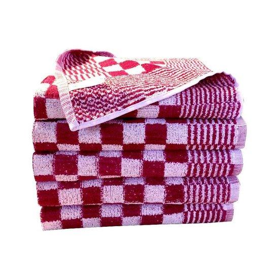 Homéé® Keukendoek rood / wit geblokt - 60x60cm - set van 6 stuks - 100% katoenen badstof