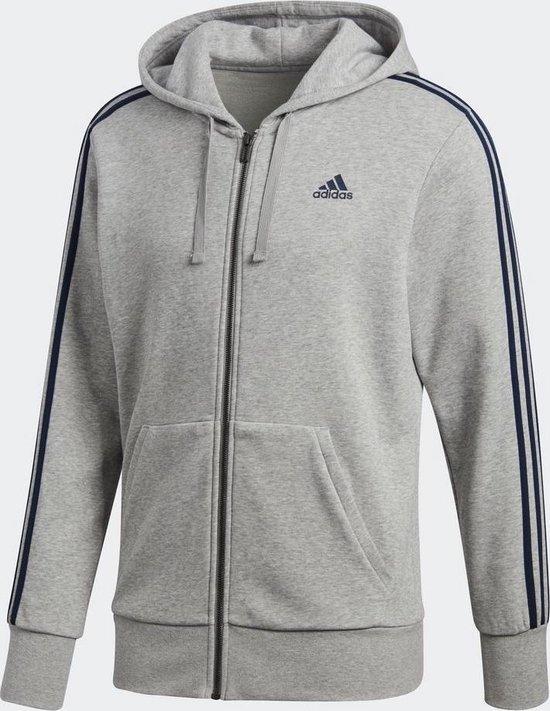 adidas Essentials 3Stripes FZ Ft Sportshirt Heren - Medium Grey  Heather/Collegiate Navy