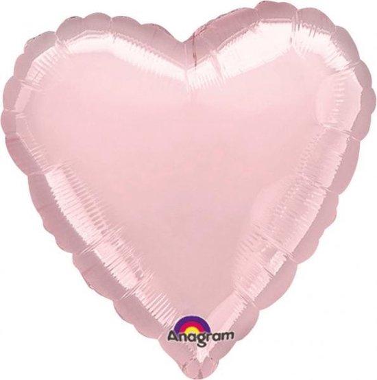 Standard Metallic Pearl Pastel Pink Foil Balloon Heart S15 packed 43cm