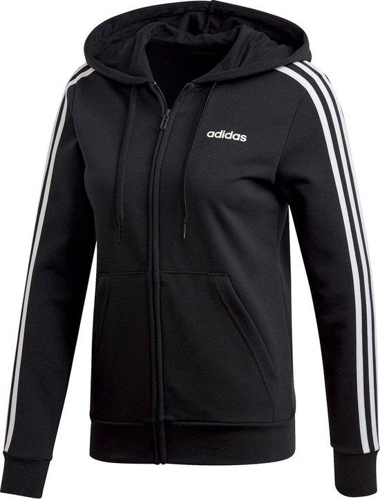 adidas W Essentials 3S Fz Hoody Dames Vest - Black/White - Maat XS