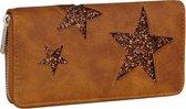 Dames portemonnee - Clutch - Compacte portemonnee met zilvere ster - ruimte voor 12 pasjes - Bruin