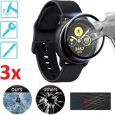Full Cover 3D Edge Screen Protector Cover Case Bumper Hoes Voor Samsung Galaxy Watch Active 2 40mm - Beschermkap Beschermhoes Screenprotector - Tempered Glass - Set Van 3 Stuks