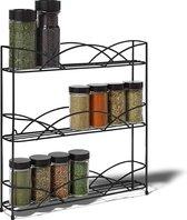 Staand Kruidenrek – Specerijen Opbergen – Kruidenpotjes – Spice Rack - 3 laags – Geschikt voor 21 Kruidenpotjes – 32.5 x 34 x 6 cm – Zwart Chroom