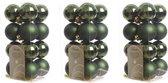 48x Donkergroene kunststof kerstballen 4 cm - Mat/glans - Onbreekbare plastic kerstballen - Kerstboomversiering donkergroen
