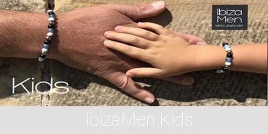 IbizaMen -  Zwart hout 8mm - amazoniet  mala - 80cm