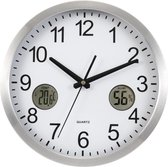 Weerstation verwerkt in Wandklok, met Thermometer en Hygrometer. Strak modern Klok voor Kantine of keuken. Zilver wit en zwart met twee digitale weerstations