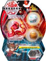 Bakugan Starter Pack met 3 Bakugan: Ultra Pyrus Fangzor, Basic Aurelius Nillious, Basic Haos Mantonoid