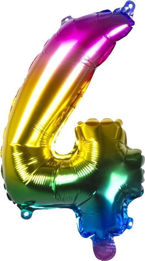 Boland Folieballon Cijfer 4 Latex Regenboog 36 Cm