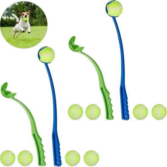relaxdays 4 x ballenwerper voor honden - werpstokken 10 ballen - ballengooier – speelgoed