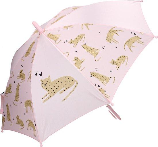 Kidzroom Fearless & Cuddle Panther paraplu – 44 x 78 cm | – Roze