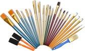 Artina penselenset - 25 penselen in set - Punt Penseel, Waaierpenseel, Platte Penselen