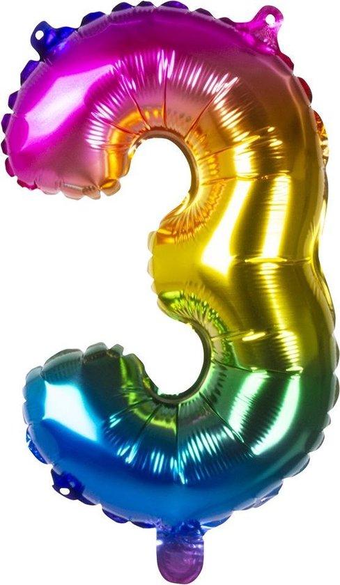 Boland Folieballon Cijfer 3 Latex Regenboog 36 Cm