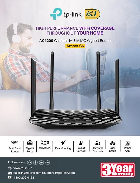 TP-Link Archer C6 - Router - 1200 Mbps